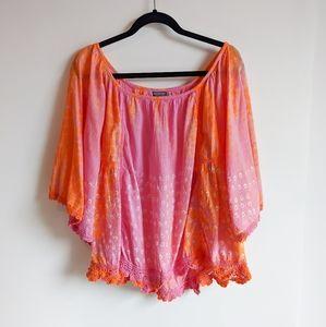 Earthbound Mumu Batik Crochet Coverup Boho Top